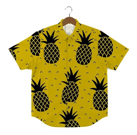 Camisa Com Botão Estampa Fruta Abacaxi Pinneaple Tumblr Cool
