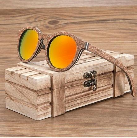 Óculos De Sol De Madeira E Cortiça Artesanal Bobo Bird Bg018
