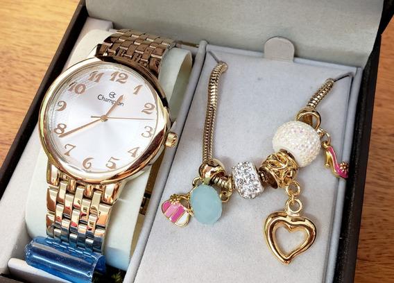 Relógio Champion Feminino Cn20453s Dourado + Pulseira Berloq