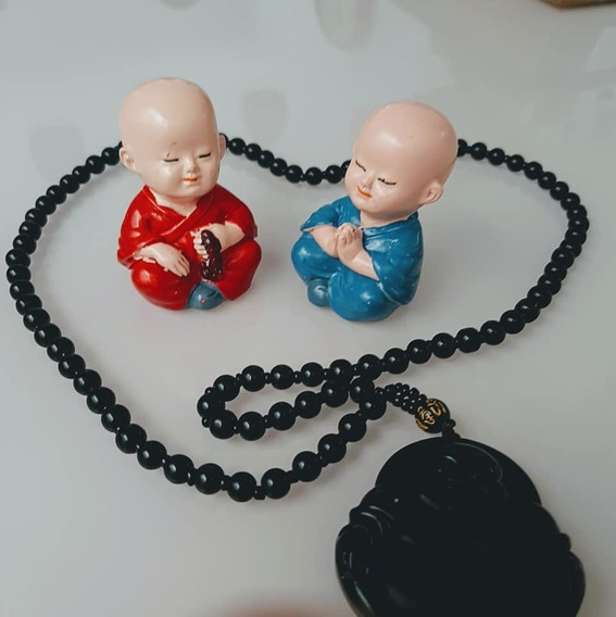 2 Monges Resina + Terço Japamala Vidro Buda Yoga