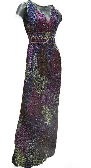 Vestido Largo Seda Fria Bohochic Fiesta Cómodo Elegante