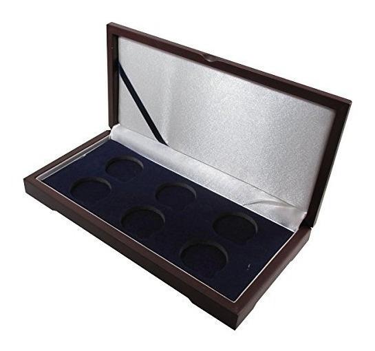 Caja De Presentación De Madera Para 6 Cápsulas De Monedas Gr