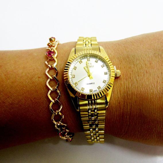 Relógio Chenxi Dourado Com Cristais Com Pulseira De Brinde