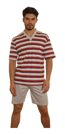 Pijama Hombre Jersey Remera Rayada Pantalon Liso
