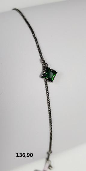 Pulseira Rommanel Banhada À Ródio Negro Pedra Verde 19cm