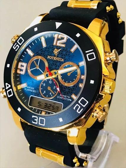 Relógio Masculino Luxo Dourado Silicone Atacado Top!
