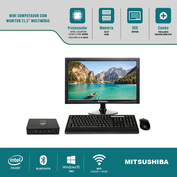 Mini Computador Com Monitor Multi 21,5 J3455 6g Ssd256g Win