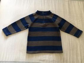 Sudadera Fleece Baby Gap! 4 Años. Rayas Azul Gris + Regalo