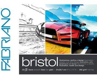 Block Fabriano Bristol 250 Gm 29.7x42cm Con 20 Hojas