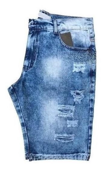 Bermuda Shorts Jeans Preta Desfiada Destroyed
