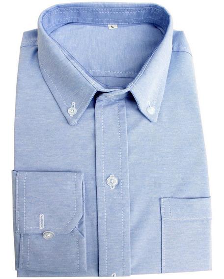 Camisa Oxford Dotacion Empresarial Elegante Manga Larga