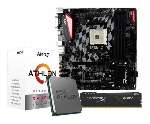 Kit Processador Athlon 3000g Biostar B350gt3 Am4 4gb Hx Fury