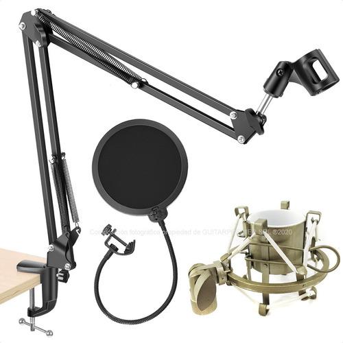 Soporte Microfono Articulado Antipop Shock Mount Pack Audio