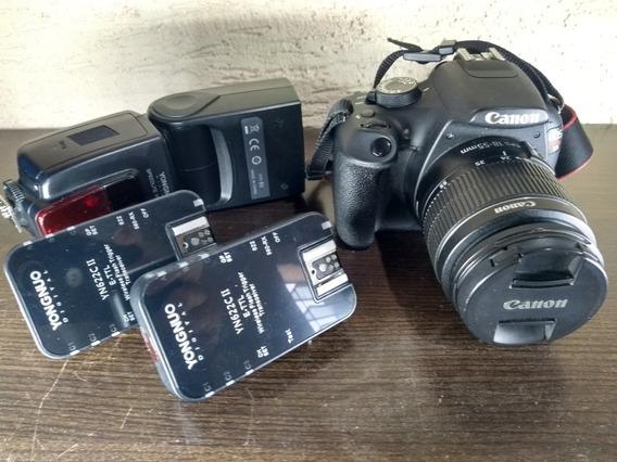 Canon T5 Usada , Flash , Rádio Flash, Mochila.