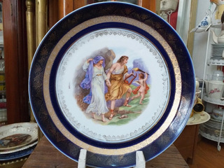 Plato De Porcelana Alemana Con Escena Y Azul Cobalto