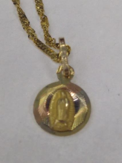 Cadena Y Medalla Para Bautizo Oro 10 Kilates Sólido.