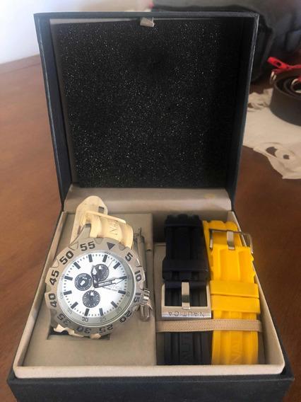 Relógio Náutica N19566g Original Com 3 Pulseiras.