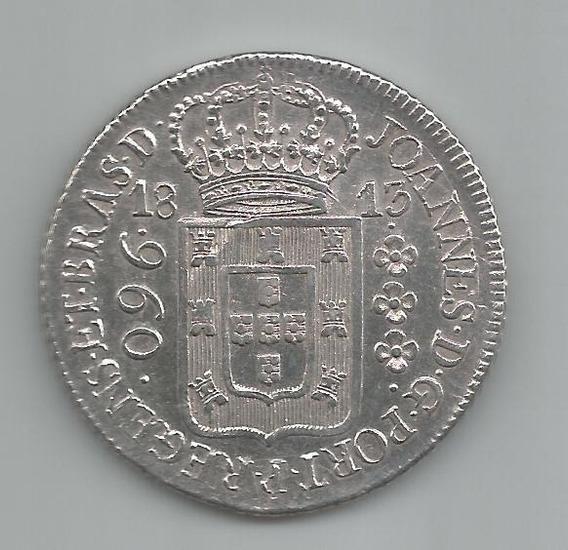 Moeda Prata Brasil - 960 Réis (patacão) - 1813 R - Original