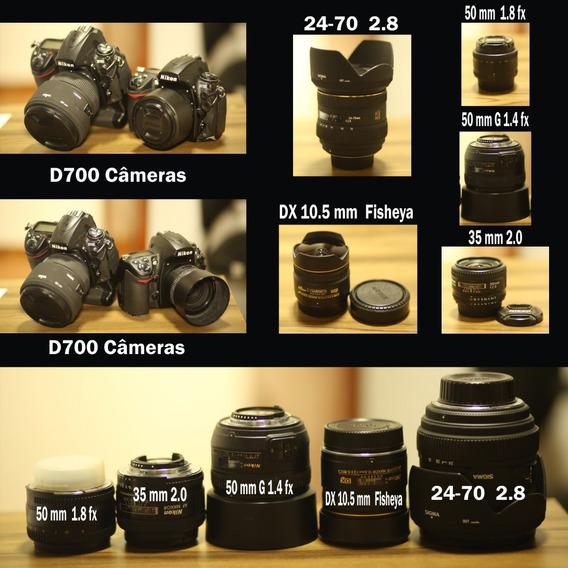 2 Câmeras D700 + 2 Grips + 50 Mm 1.4 + 50 Mm 1.8 + 35 Mm 2.0