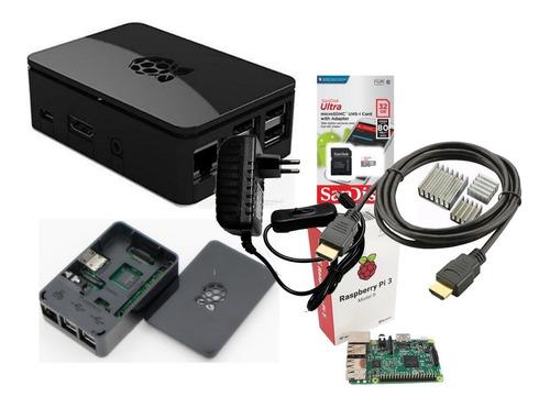 Imagem 1 de 8 de Kit Raspberry Pi3 B, Fonte, Case Oficial Black E Cartão 32gb