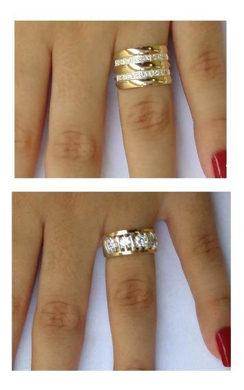 Kit 2 Anéis Em Prata 950 Filetes Ouro 12k E Pedras Zircônias