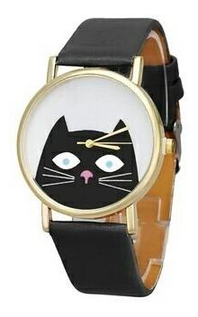 Lindíssimo Relógio Cat Gato Gatinho Pulseira Couro Ecológico