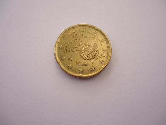 Moeda Bronze 20 Centavos Cent Euro 1999 Cervantes Espanha