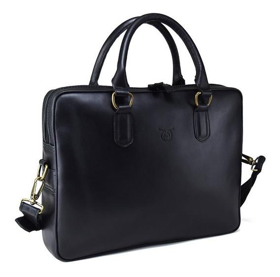 Portafolio Liso Laptop Ag Leather - 100% Piel Color Negro
