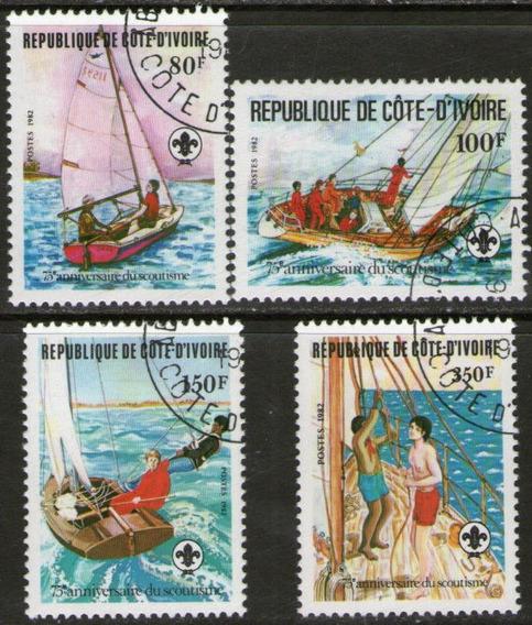 Costa De Marfil Serie X 4 Sellos Usados Scouts = Yates 1982