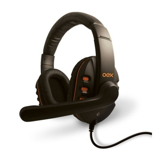 Headset Oex Action Preto Com Laranja Hs-200