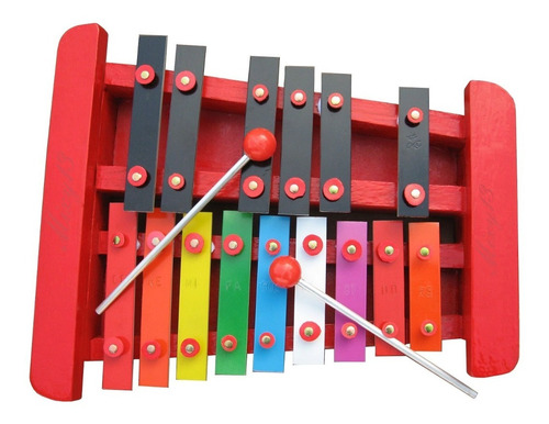 Imagen 1 de 6 de Xilófono 1/8 Cromático 15 Notas Color/negras/rojo.nuevo100%