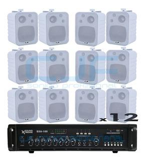 Sistema De Musica Funcional Usb Y Bluetooth + 12 Bafles Cjf