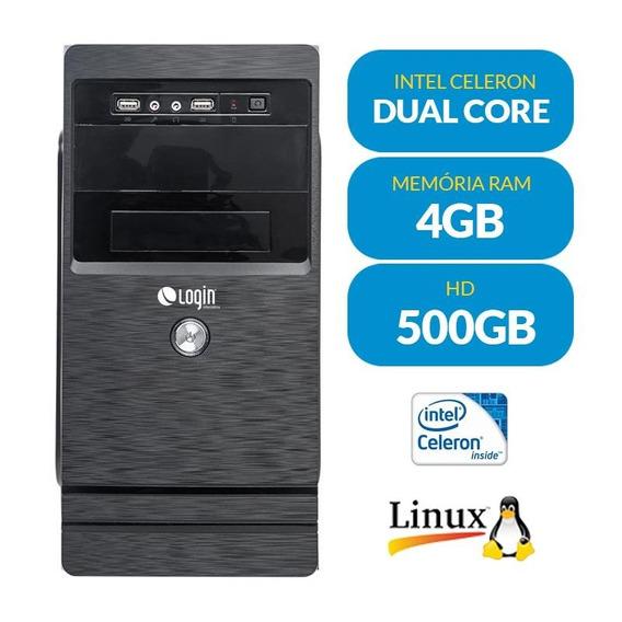 Computador Completo Login Dual Core 4gb 500gb E Linux