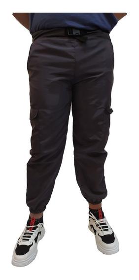 Pantalon Joggers Hip Hop Con Cinturon Cargo Gris