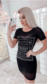 Camiseta Minivest Vestido Tule Pedraria Love