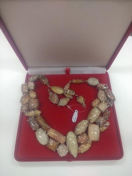 Colar De Prata Com Pedras De Lodonita/cristal