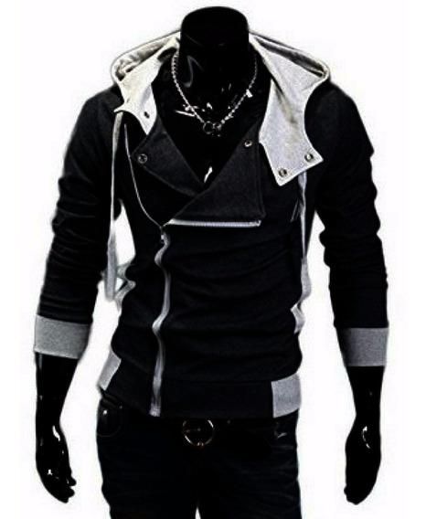 Jaqueta Moleton Creed Black Ziper Gótico Punk