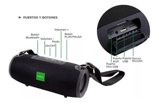 Parlante Bluetooth Usb Fm Gadnic Negro Resistente Al Agua