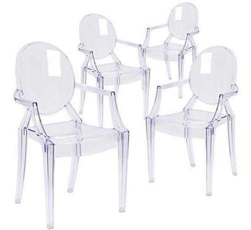 Imagen 1 de 1 de Flash Furniture 4 Pk Ghost Chair Con Brazos En Cristal Trans