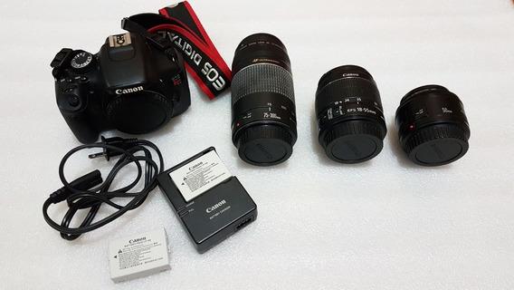 Câmera Canon Eos T3i + 18-55mm + 50mm + 75-300mm (usados)
