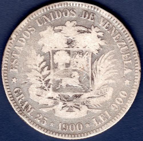 Moneda De 5 Bolívares De 1900 Fuerte De Plata