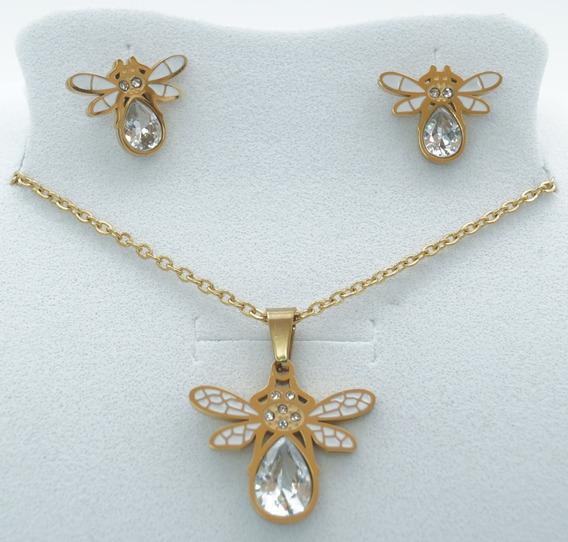 Collar De Abeja Con Zirconia Aretes Acero Inoxidable Oro