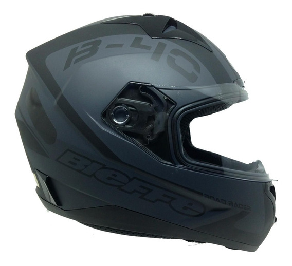 Capacete Moto Bieffe B-40 Road Racer Preto Chumbo Fosco Xj6