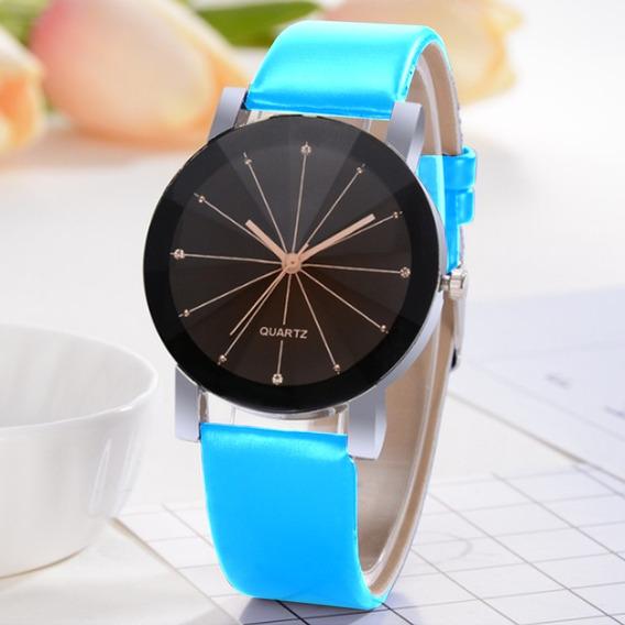 Relógio Masculino De Couro Pulseira Azul Quartz Social