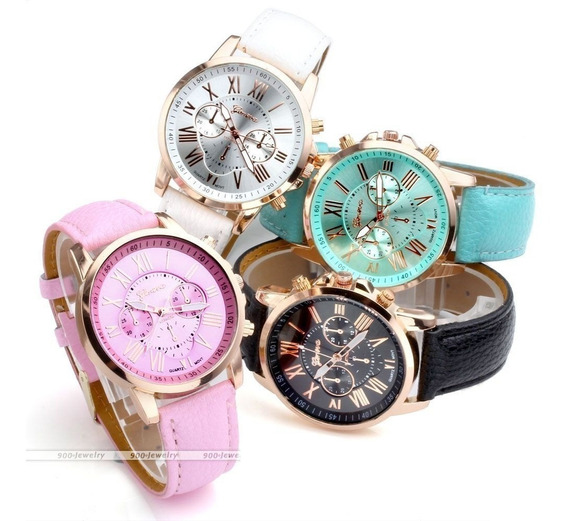 4 Relógio Feminino Luxo Geneva + 4 Pulseira Metal De Brinde