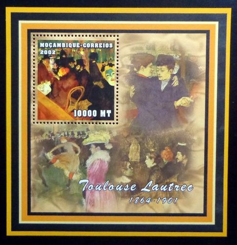 Mozambique Arte, Bloque 1 Sello Toul Lautrec 02 Mint L9364
