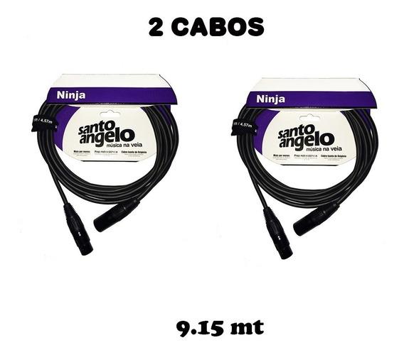 2 Cabo Microfone Xlr Santo Angelo Ninja 9.15m Balanceado Lwb