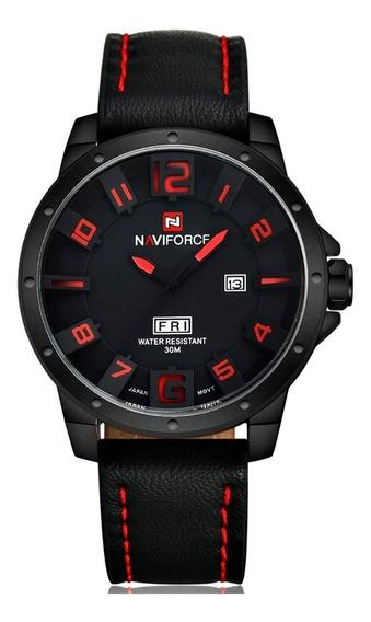 Relógio Masculino Preto Pulseira Costura Vermelho Calendário