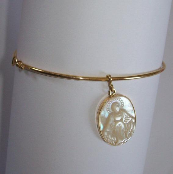 Bracelete De Ouro 18k Com Pendente N.sra. Das Graças