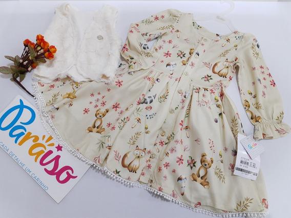 Kit Vestido Menina Paraiso + Bolero Luxo Tam 1 2 3 4 Dg 8190